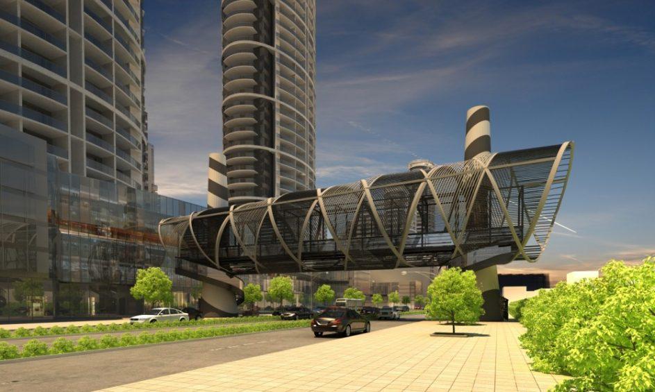 Cầu đi bộ qua đường D1, Vinhomes Tân Cảng